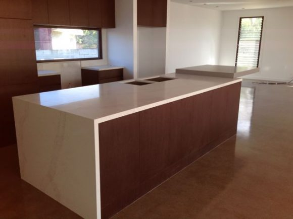 Caersastone calacutta and sleek comcrete 580x435 - Kitchen