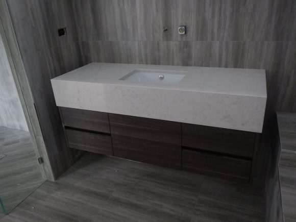 Caesarstone London Grey vanity modern design undermount sink
