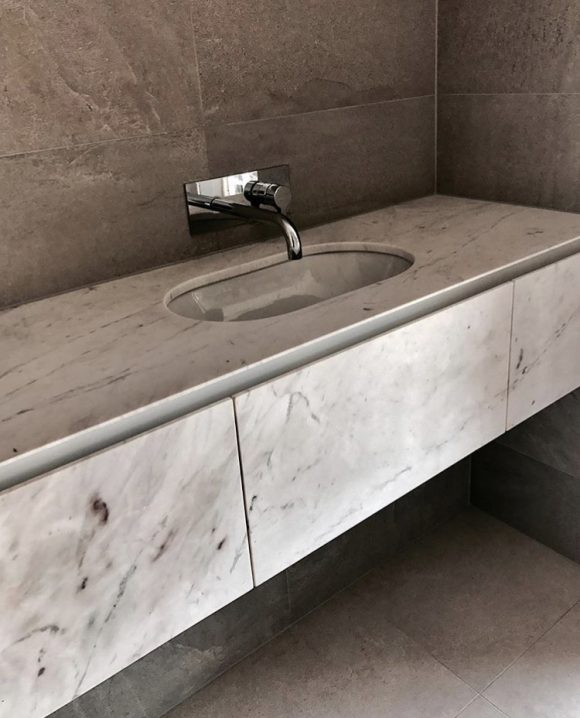 Elba Marble vanity with marble draw fronts