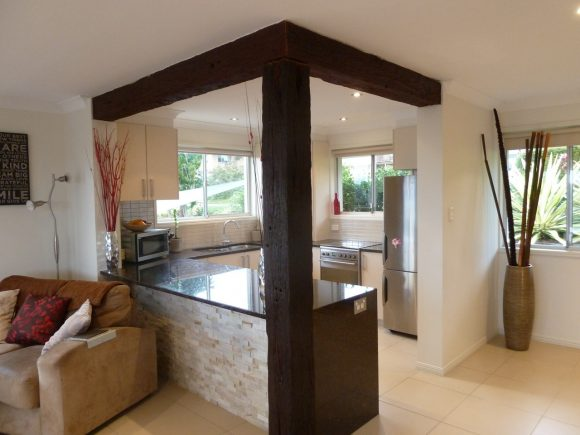 Tan Brown Granite Kitchen With Recycled Timber Posts1
