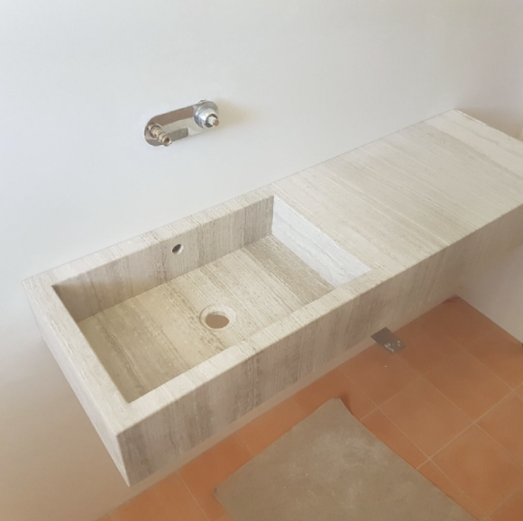 White Wood Limestone Custom Made Vanity top